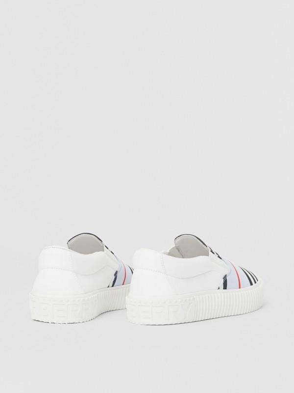 Icon Stripe Cotton Slip-on Sneakers in Pale Blue - Children | Burberry Australia - cell image 2