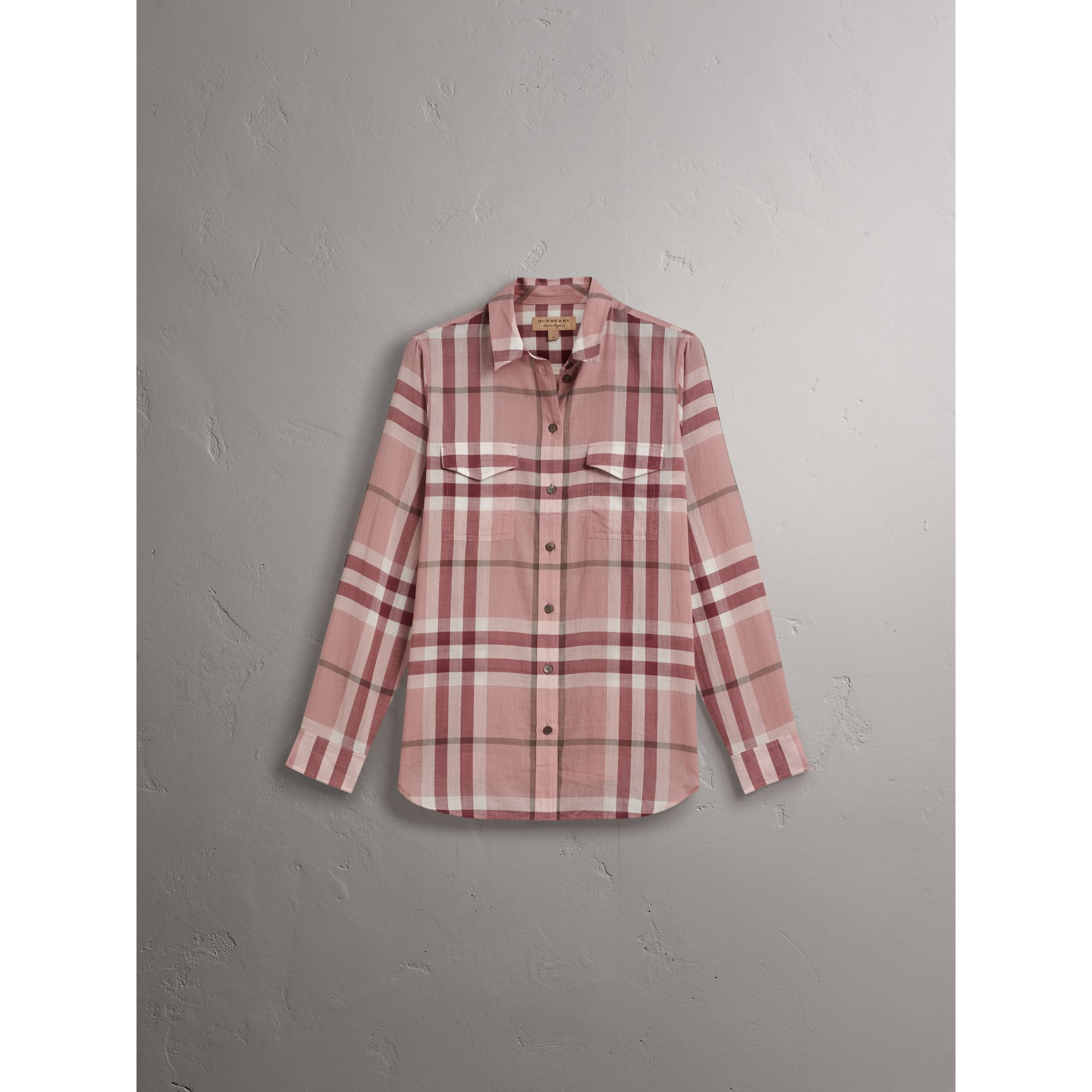 Check Cotton Shirt in Antique Pink - Women | Burberry United States - gallery image 4