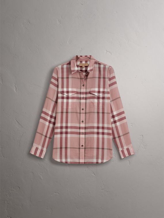 Check Cotton Shirt in Antique Pink - Women | Burberry United States - cell image 3