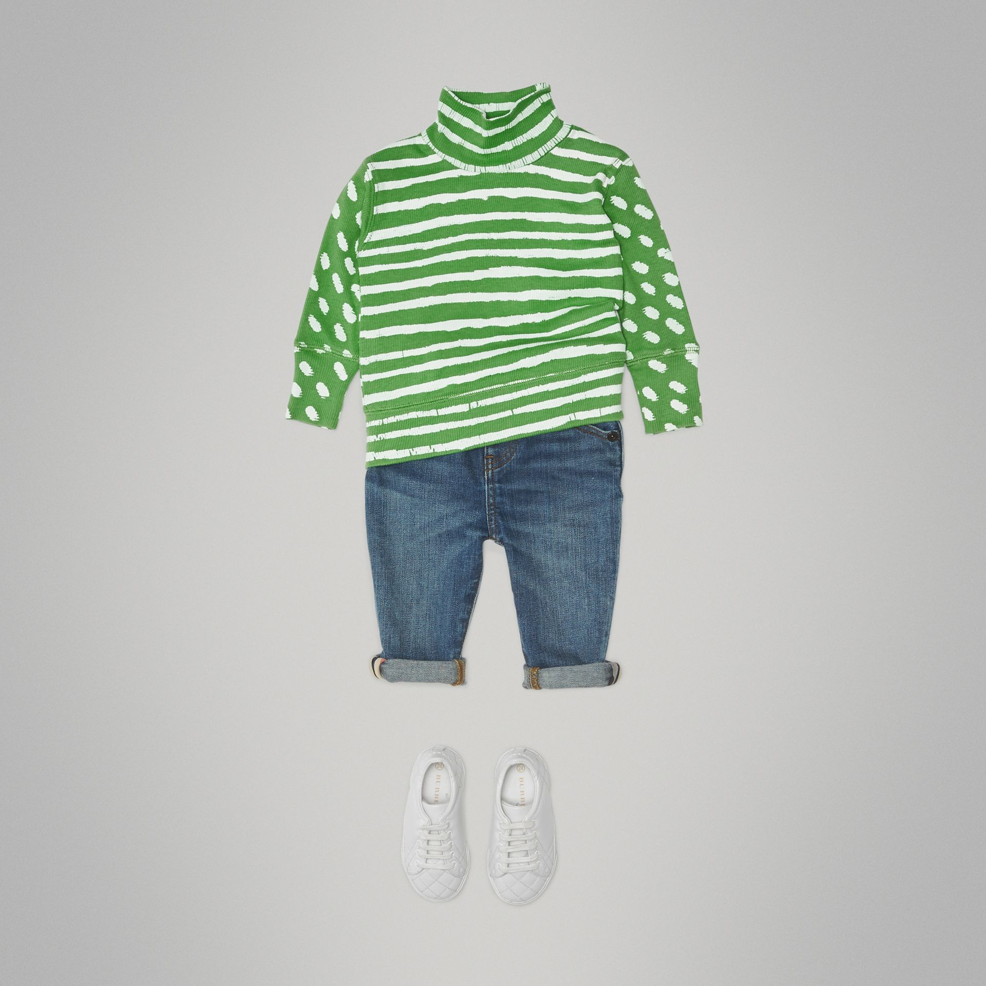 Roll-neck Spot and Stripe Print Cotton Top in Bright Green - Children | Burberry United Kingdom - gallery image 2