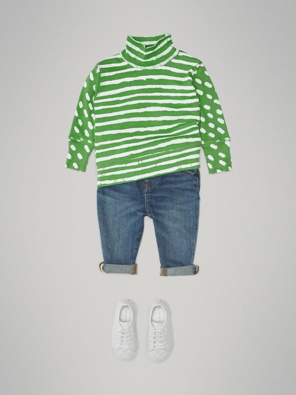 Roll-neck Spot and Stripe Print Cotton Top in Bright Green - Children | Burberry - cell image 2