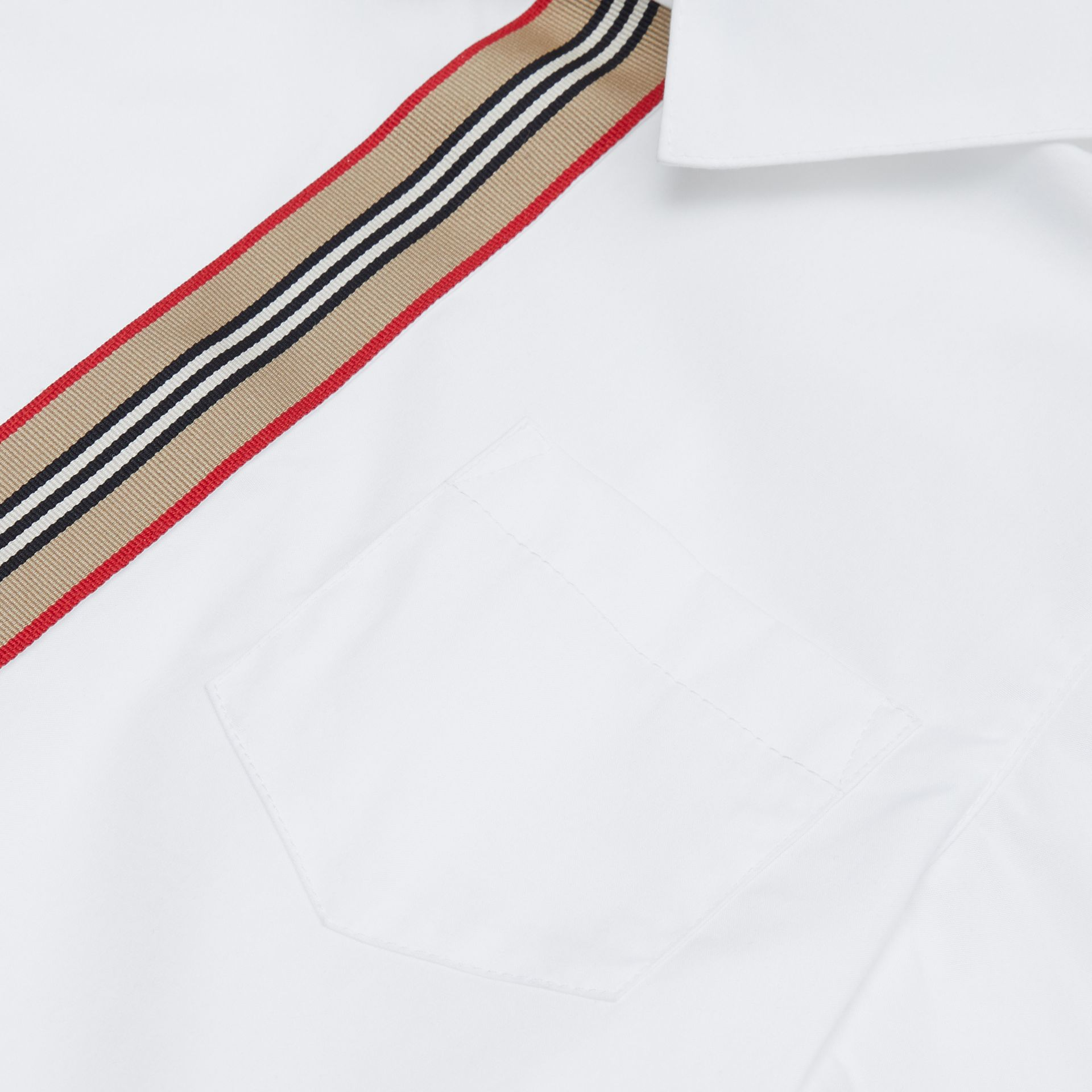 Short-sleeve Icon Stripe Trim Stretch Cotton Shirt in White | Burberry United Kingdom - gallery image 1
