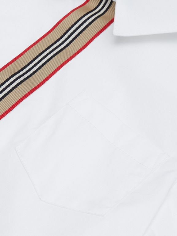 Short-sleeve Icon Stripe Trim Stretch Cotton Shirt in White | Burberry United Kingdom - cell image 1