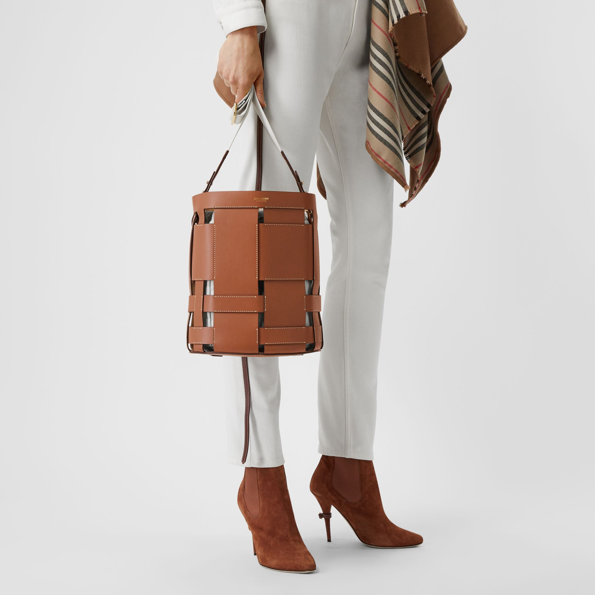 Small Leather Foster Bucket Bag in Malt Brown - Women | Burberry United Kingdom - gallery image 2