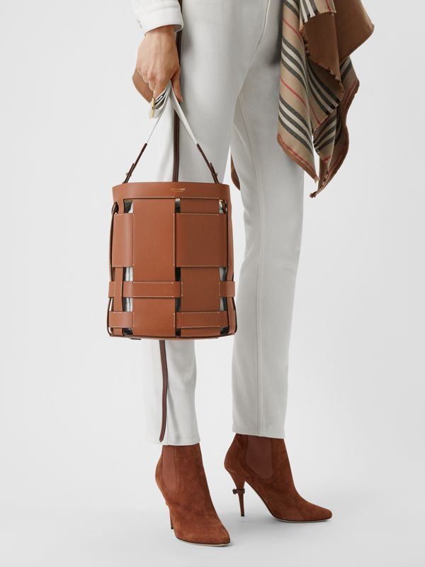 Small Leather Foster Bucket Bag in Malt Brown - Women | Burberry - cell image 2