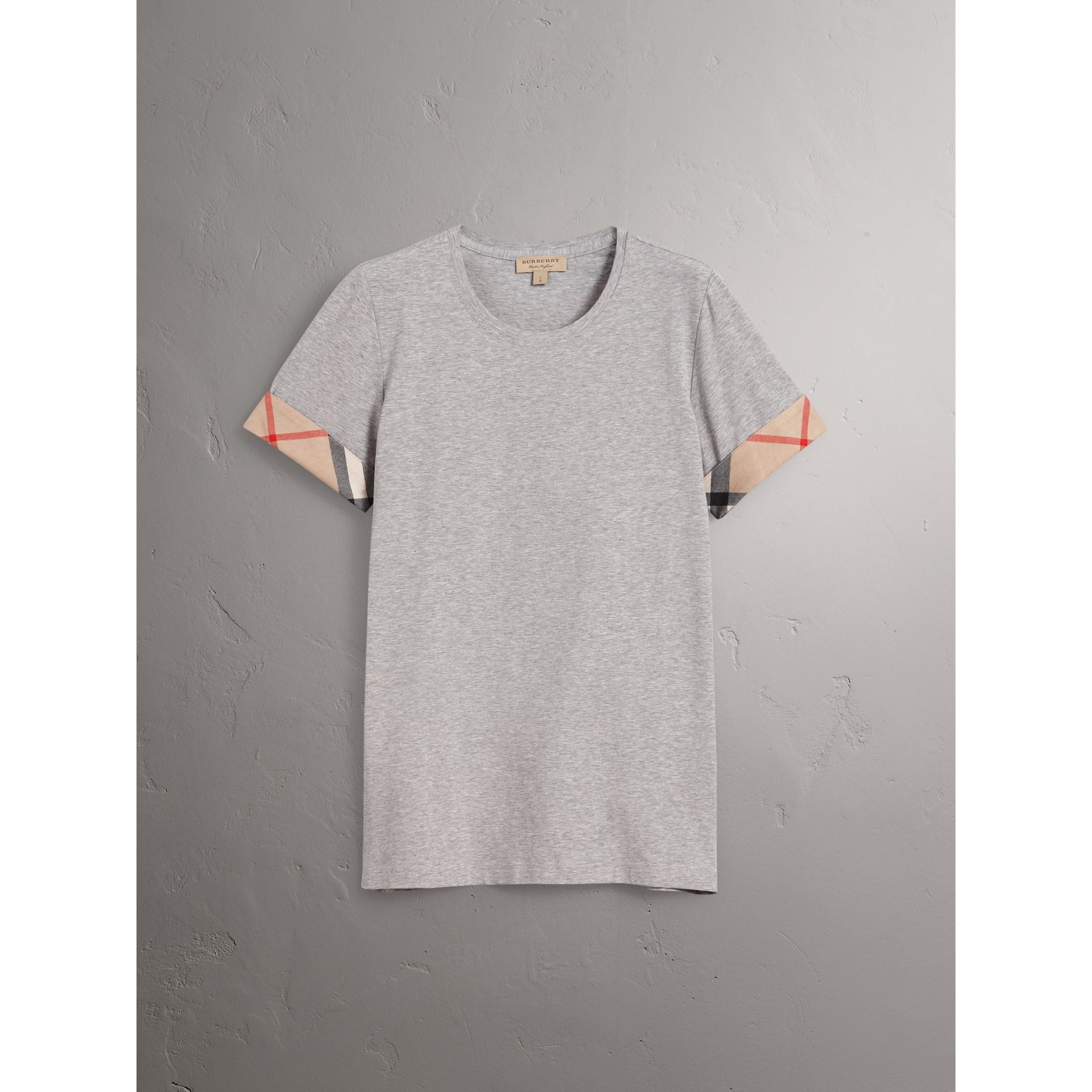 Check Cuff Stretch Cotton T-Shirt in Pale Grey Melange - Women | Burberry - gallery image 4