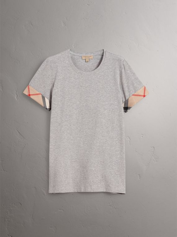 Check Cuff Stretch Cotton T-Shirt in Pale Grey Melange - Women | Burberry - cell image 3