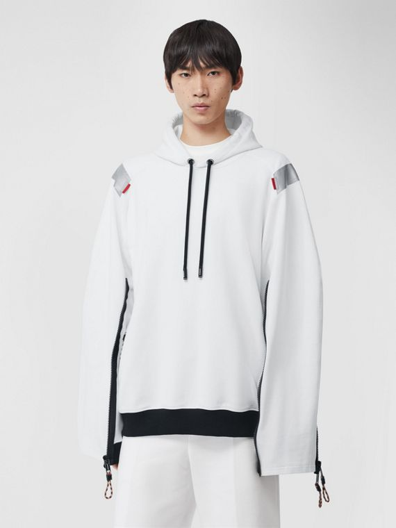 Zip Detail Swan Print Cotton Hoodie in Optic White