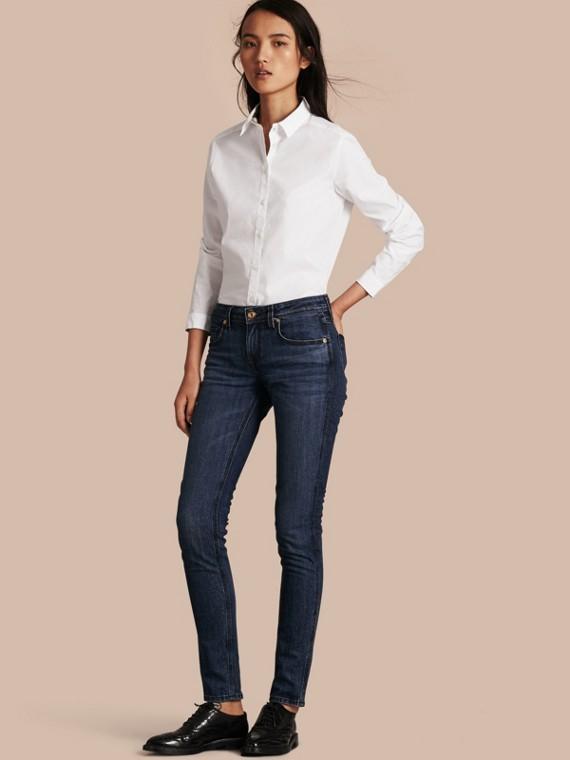 Camicia in cotone stretch con dettagli con motivo check Bianco