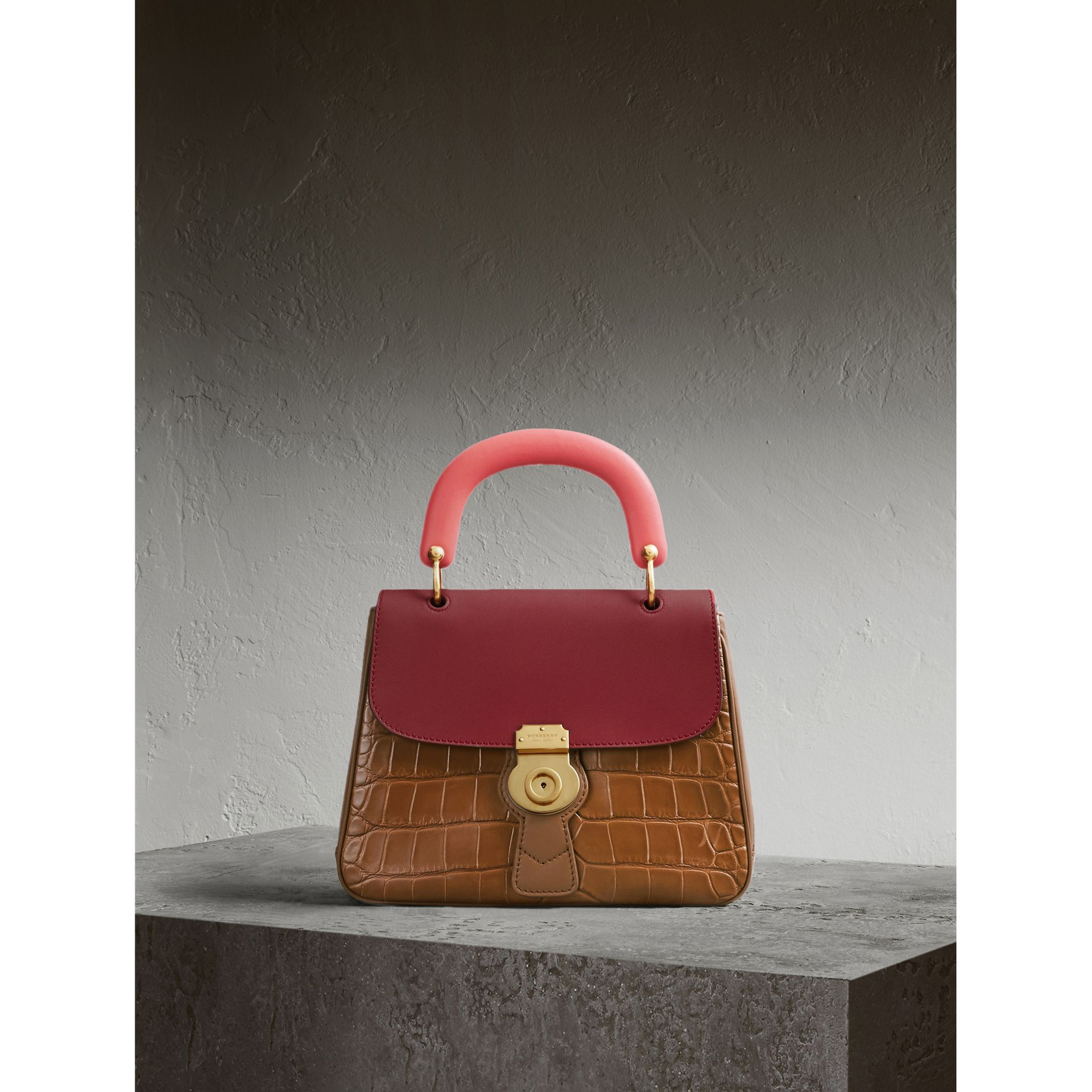 The Medium DK88 Top Handle Bag with Alligator in Tan/antique Red - Women | Burberry Singapore - gallery image 1