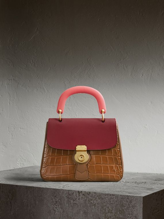 The Medium DK88 Top Handle Bag with Alligator in Tan/antique Red