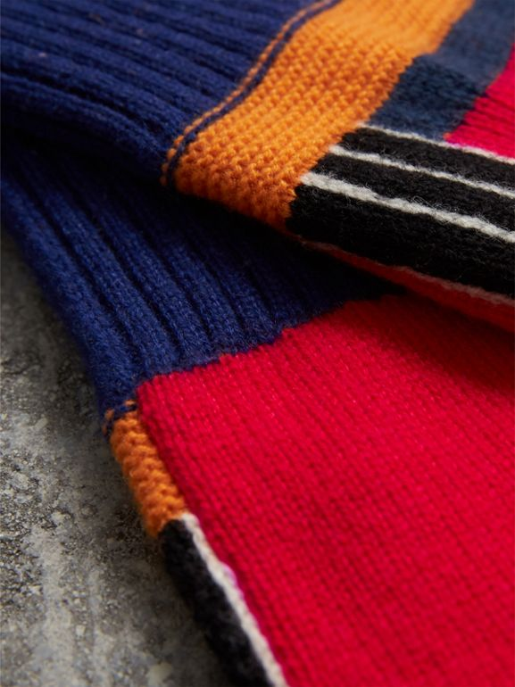 Cashmere Wool Blend  Fingerless Patchwork Gloves in Coral Red | Burberry United Kingdom - cell image 1
