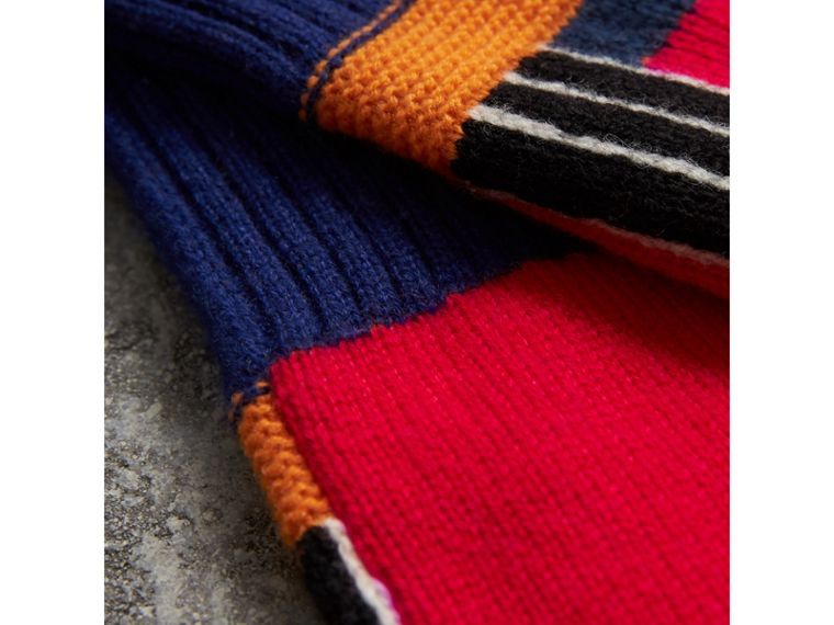 Cashmere Wool Blend  Fingerless Patchwork Gloves in Coral Red | Burberry - cell image 1