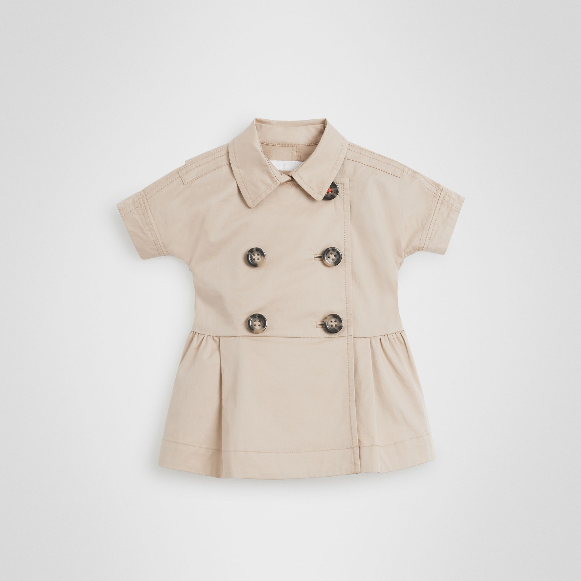 Stretch Cotton Trench Dress in Honey - Children | Burberry United States - gallery image 0