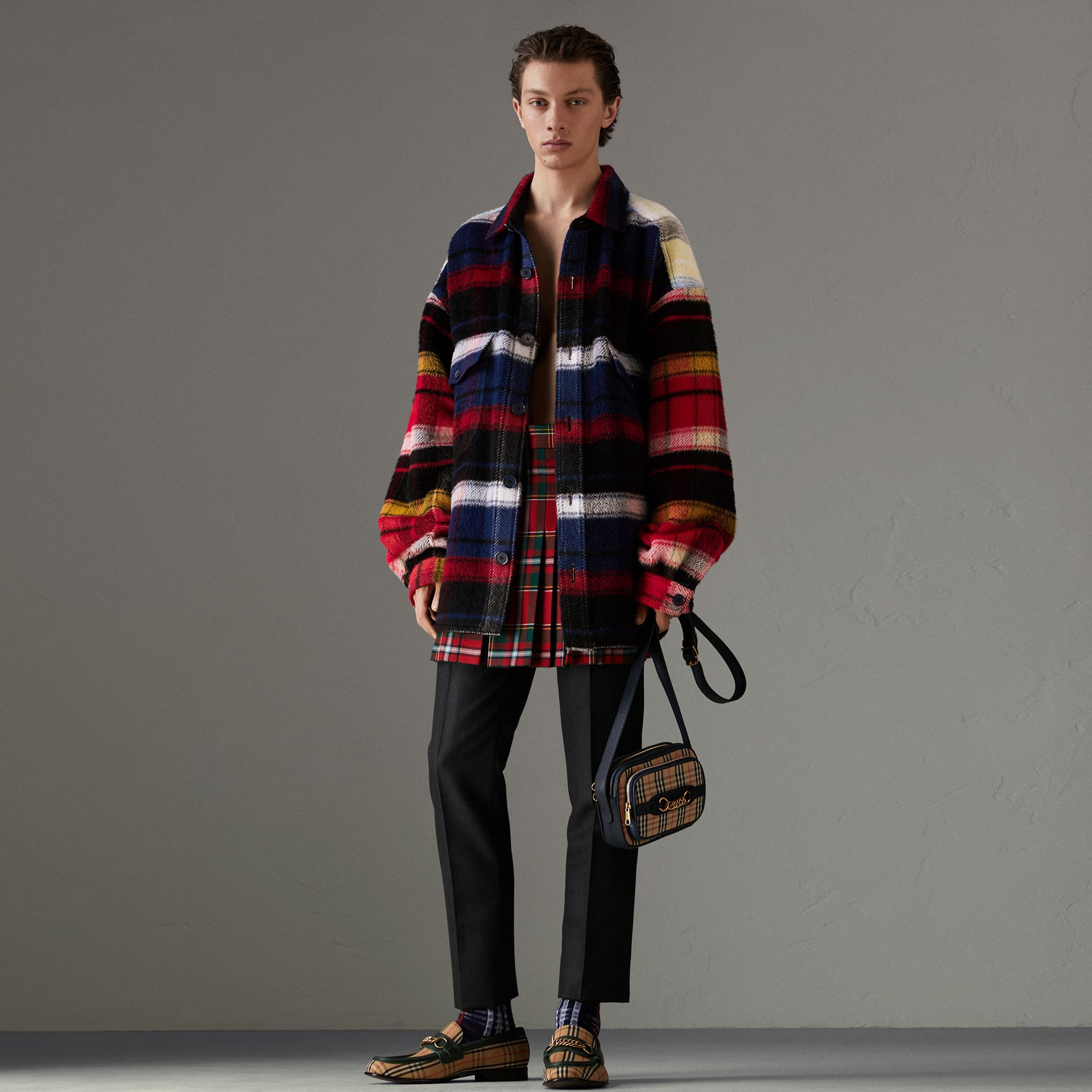 Check Alpaca Wool Jacket in Bright Navy | Burberry United States - gallery image 0