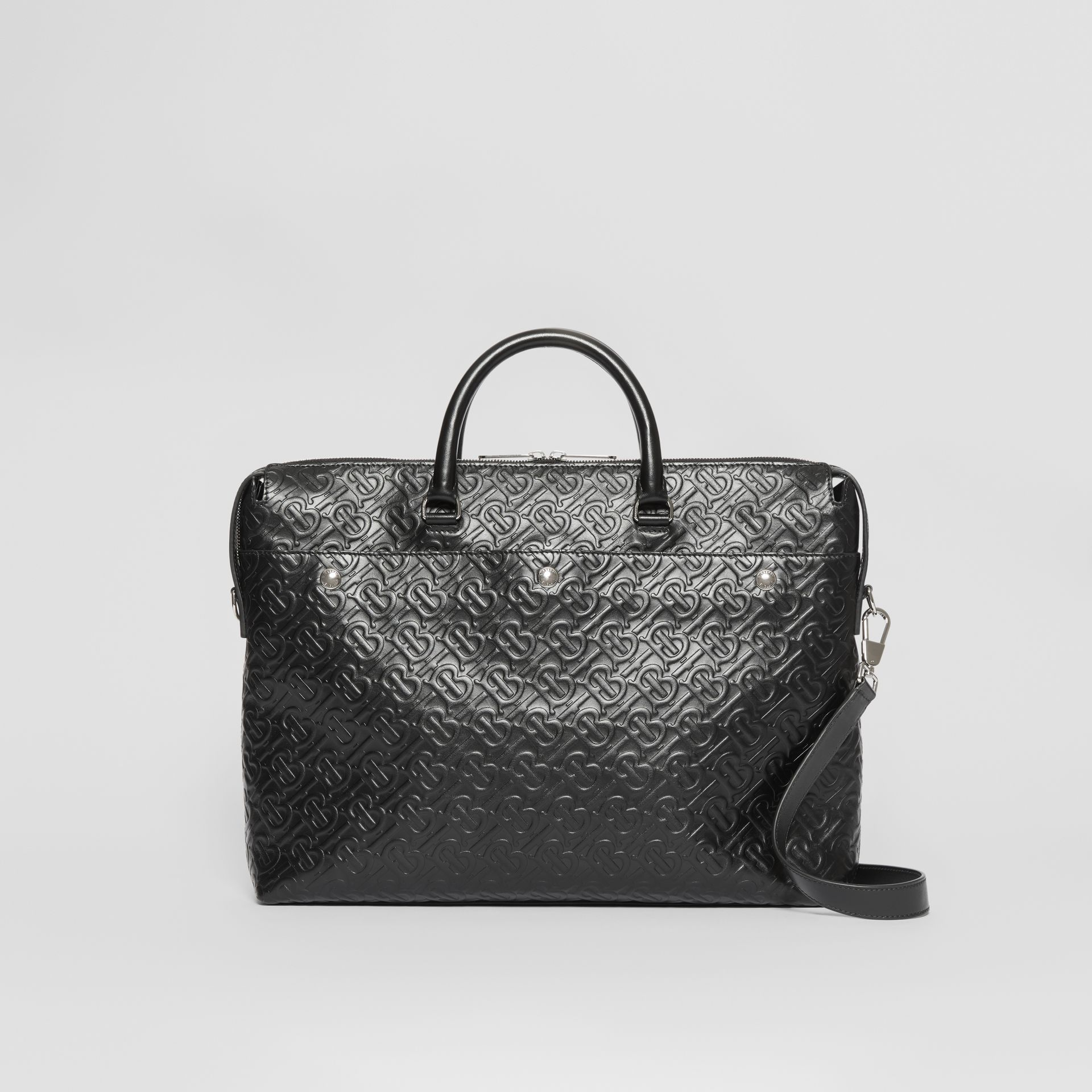 Triple Stud Monogram Leather Briefcase in Black - Men | Burberry - gallery image 0