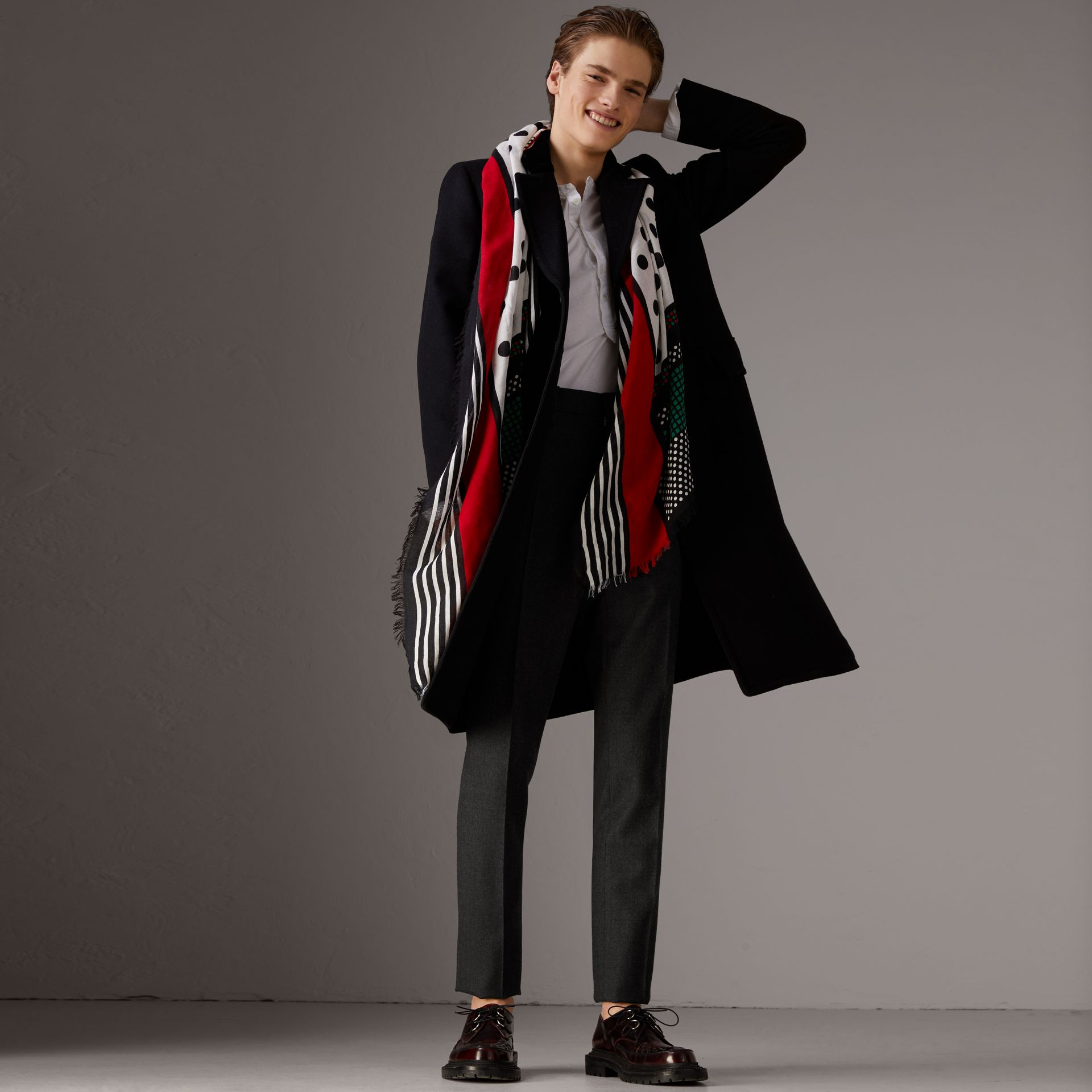 Graphic Spot and Stripe Print Silk Cotton Scarf in Military Red - Women | Burberry United States - gallery image 3