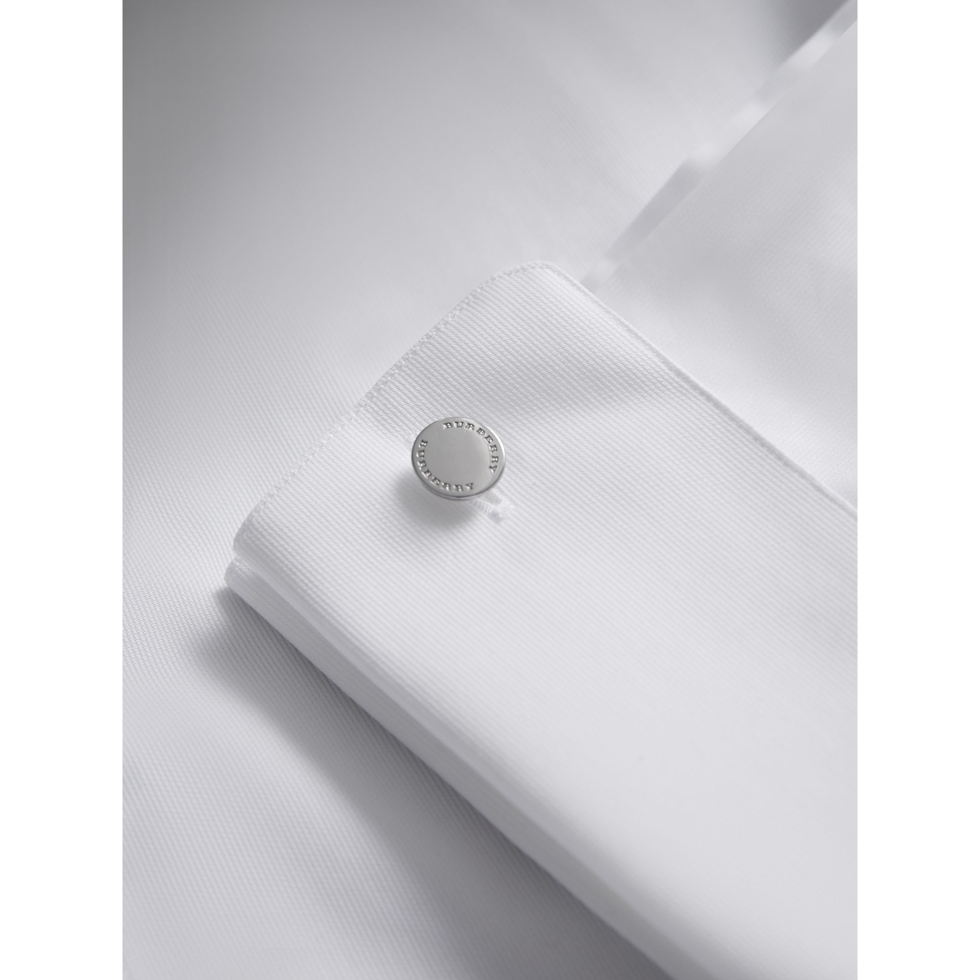 Slim Fit Double-cuff Cotton Dress Shirt in White - Men | Burberry Canada - gallery image 1