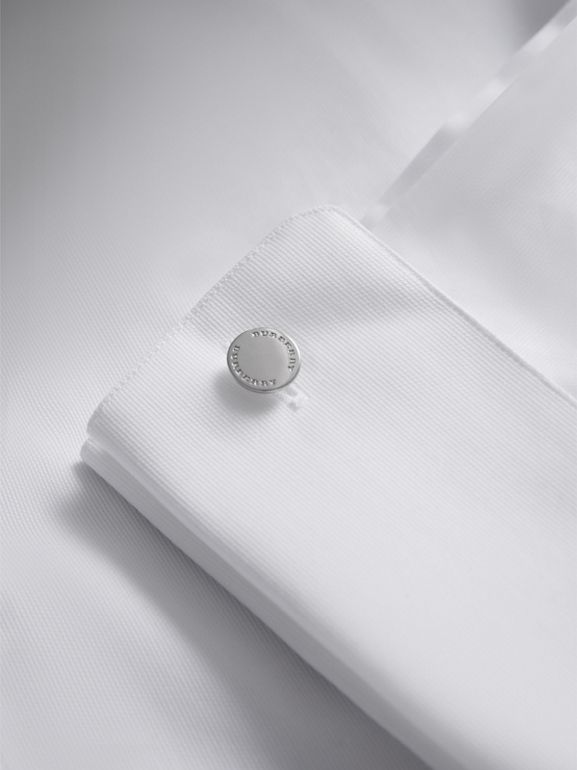 Slim Fit Double-cuff Cotton Dress Shirt in White - Men | Burberry United Kingdom - cell image 1