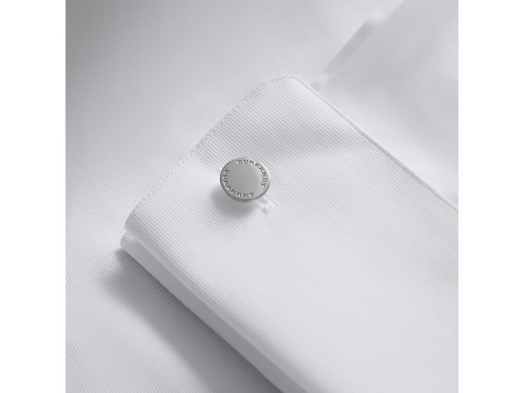 Slim Fit Double-cuff Cotton Dress Shirt in White - Men | Burberry Singapore - cell image 1
