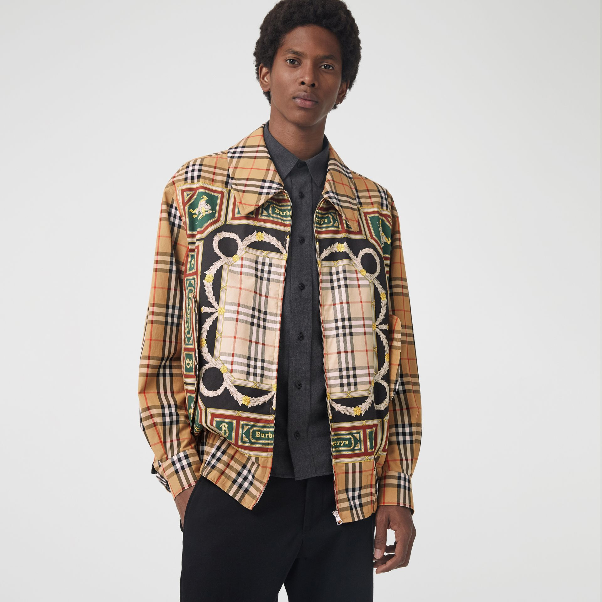 Archive Scarf Print Harrington Jacket in Antique Yellow - Men | Burberry - gallery image 5
