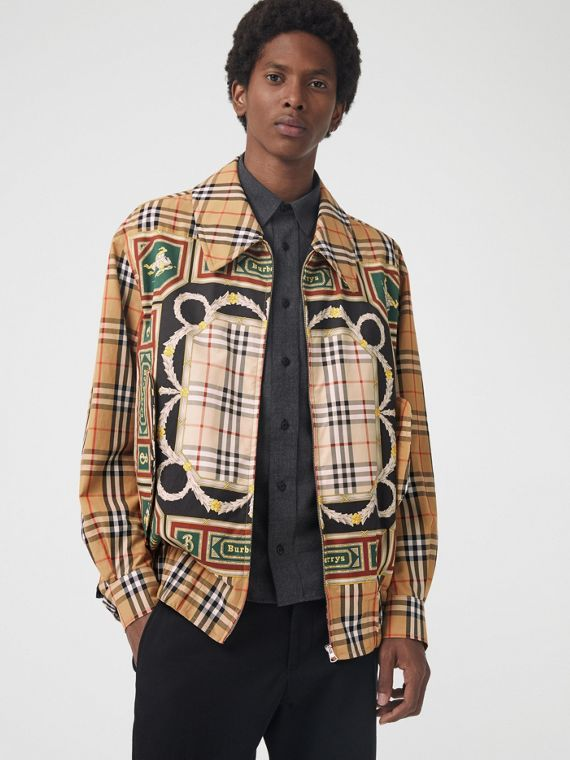 Archive Scarf Print Harrington Jacket in Antique Yellow