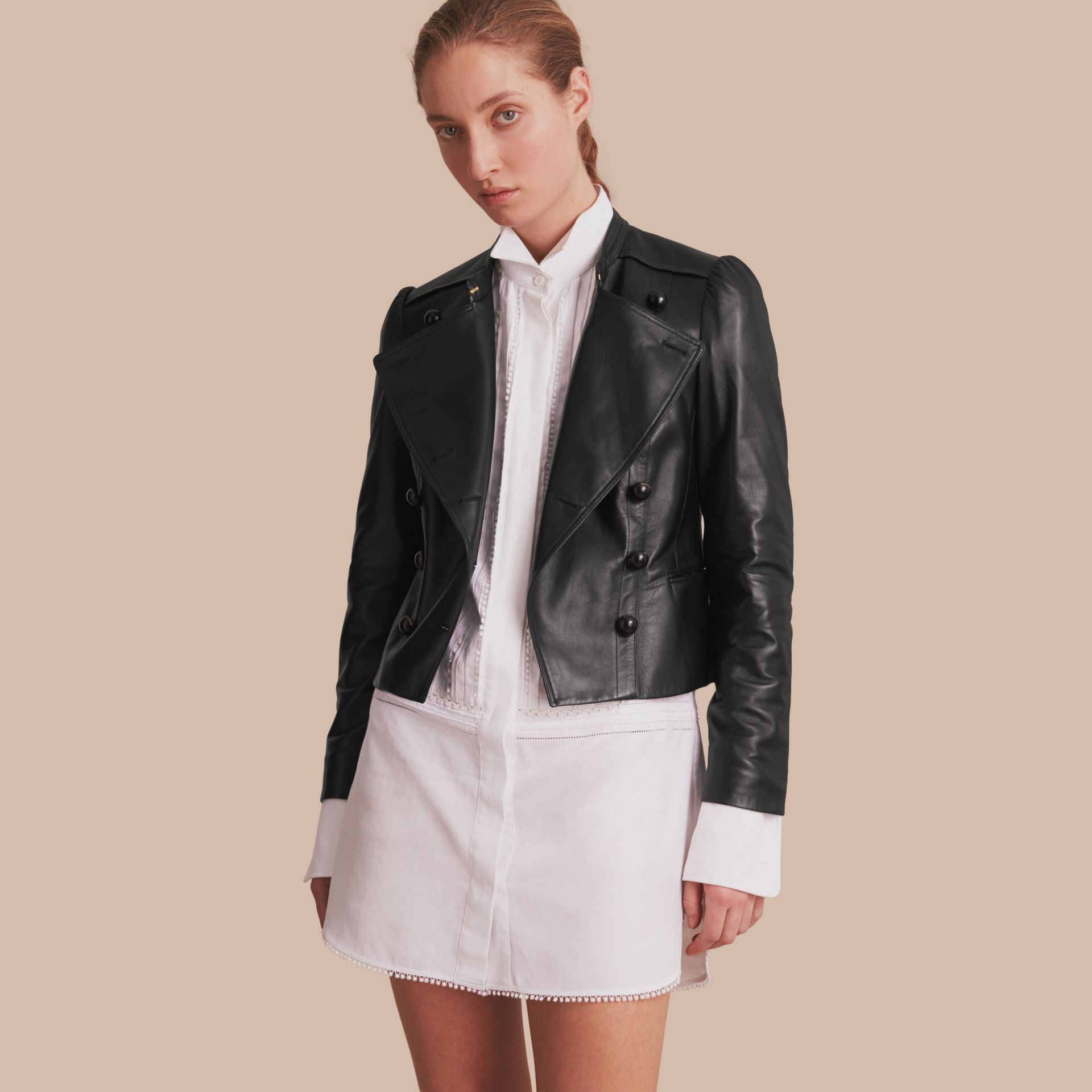 Lambskin Double-breasted Jacket - gallery image 1