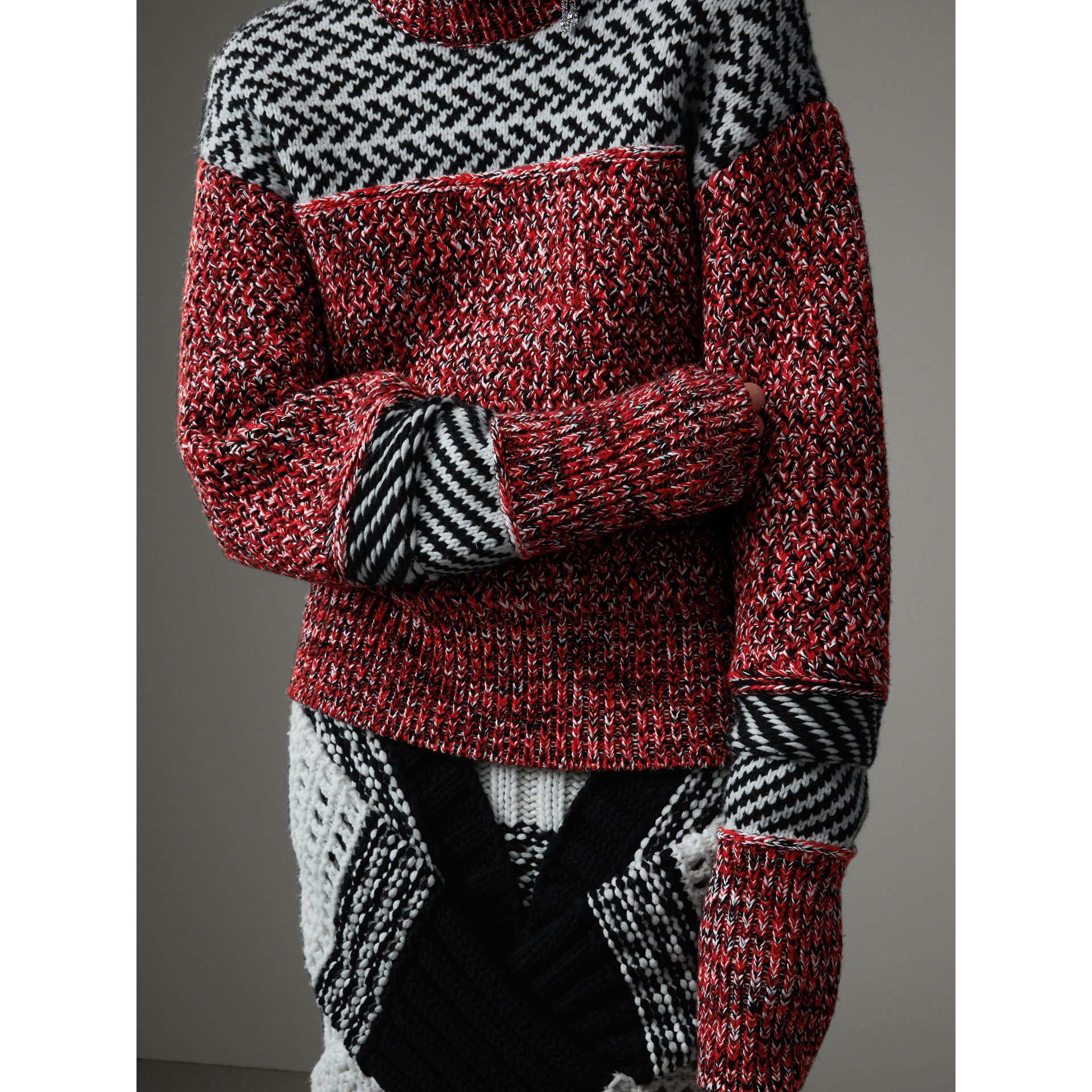 Geometric Cotton Wool Cashmere Mouliné Sweater in Red/black - Women | Burberry Canada - gallery image 1
