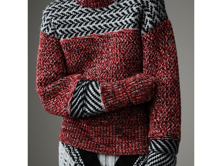 Geometric Cotton Wool Cashmere Mouliné Sweater in Red/black - Women | Burberry Hong Kong - cell image 1