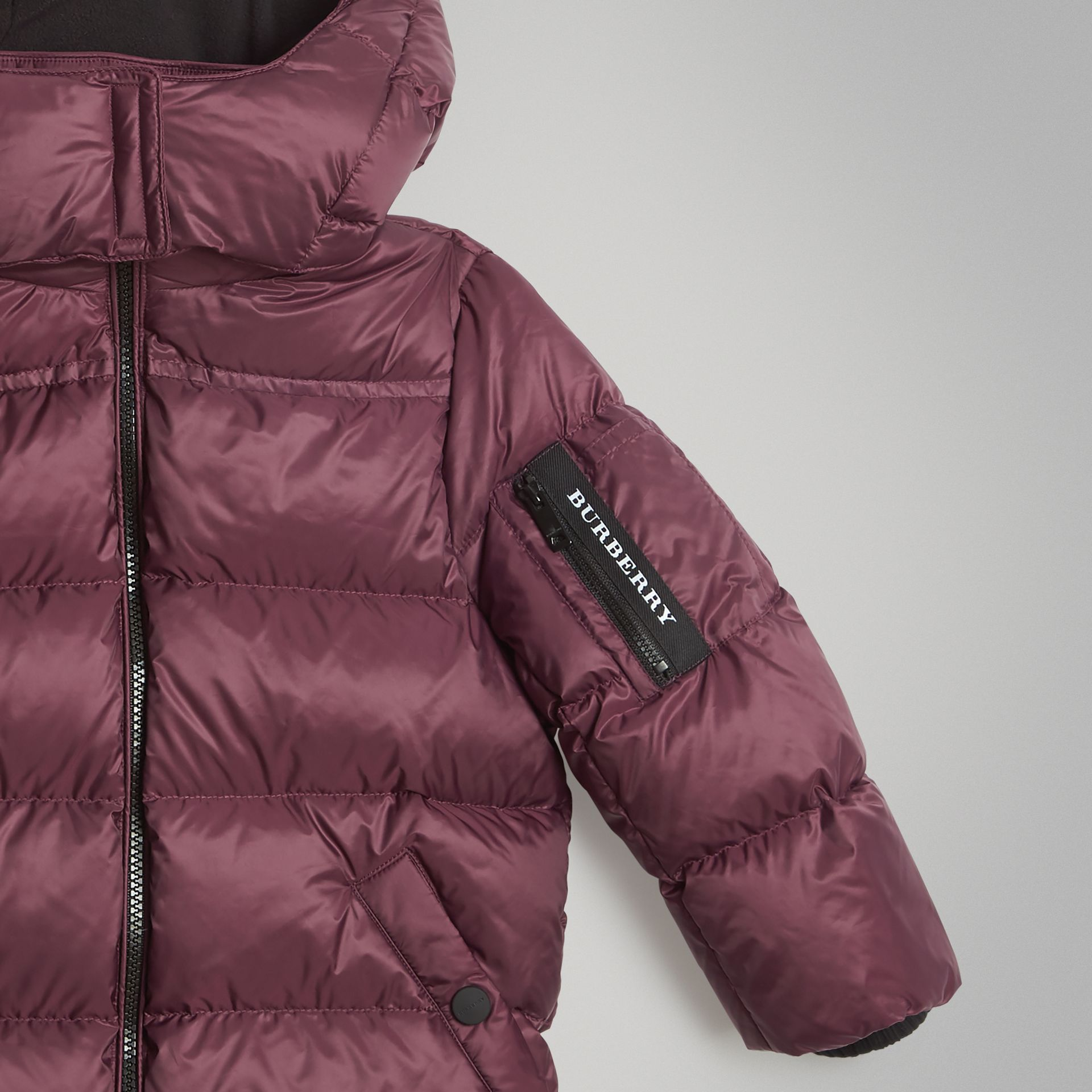 Detachable Hood Down-filled Puffer Coat in Beetroot | Burberry Australia - gallery image 4