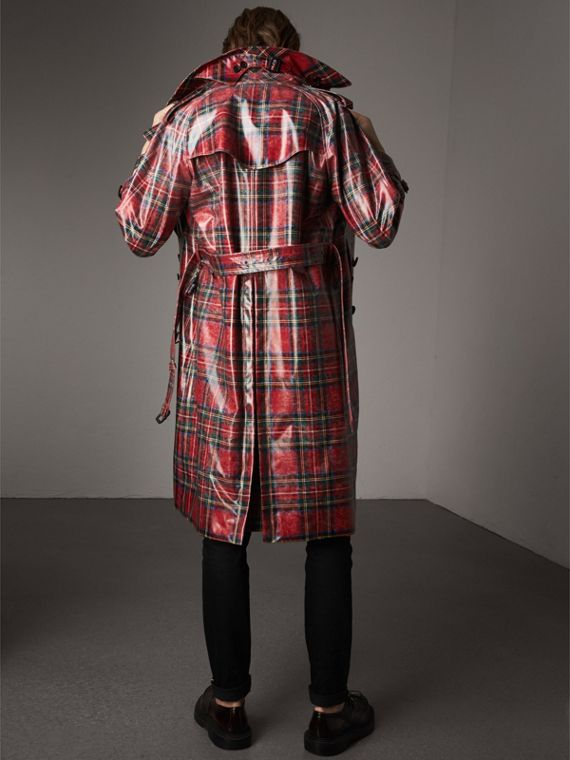 Laminated Tartan Wool Trench Coat in Bright Red - Men | Burberry Hong Kong - cell image 2
