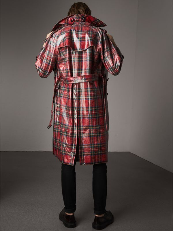 Laminated Tartan Wool Trench Coat in Bright Red - Men | Burberry - cell image 2