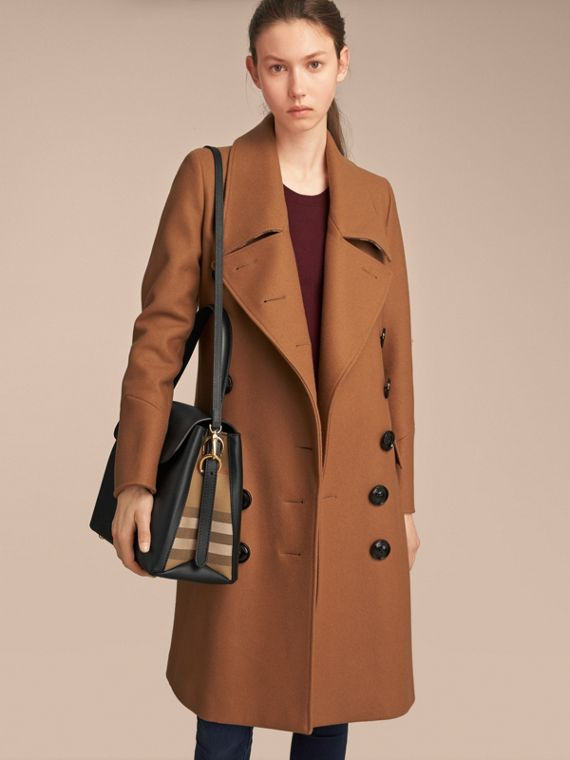 Medium Grainy Leather and House Check Tote Bag in Black - Women | Burberry United Kingdom - cell image 2