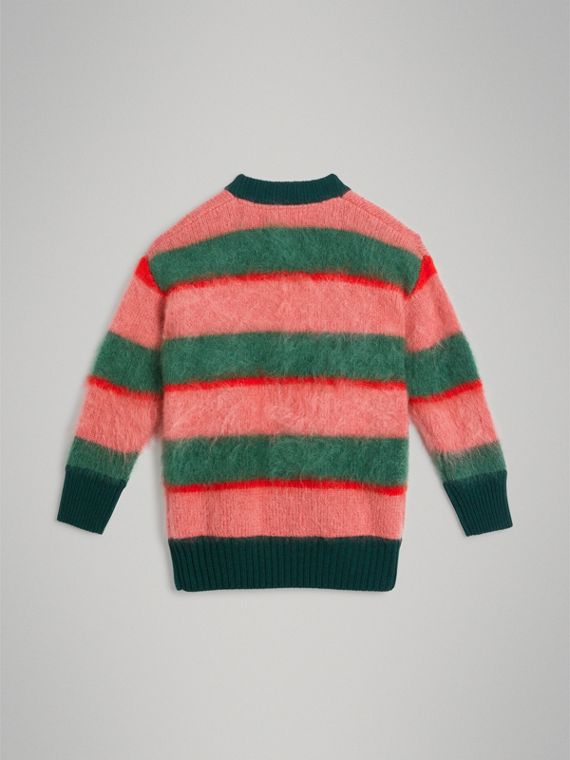 Tri-tone Striped Mohair Blend Cardigan in Dark Forest Green - Girl | Burberry - cell image 3