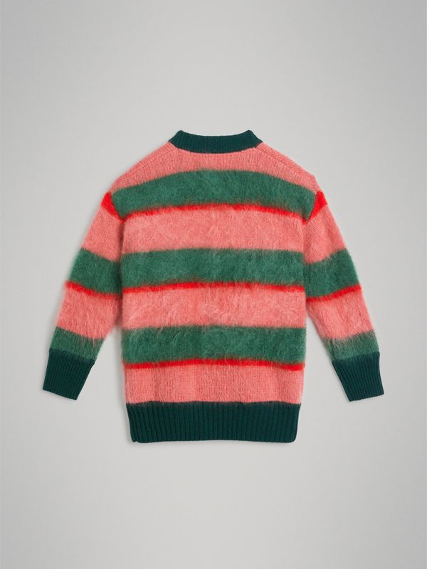 Tri-tone Striped Mohair Blend Cardigan in Dark Forest Green | Burberry - cell image 3