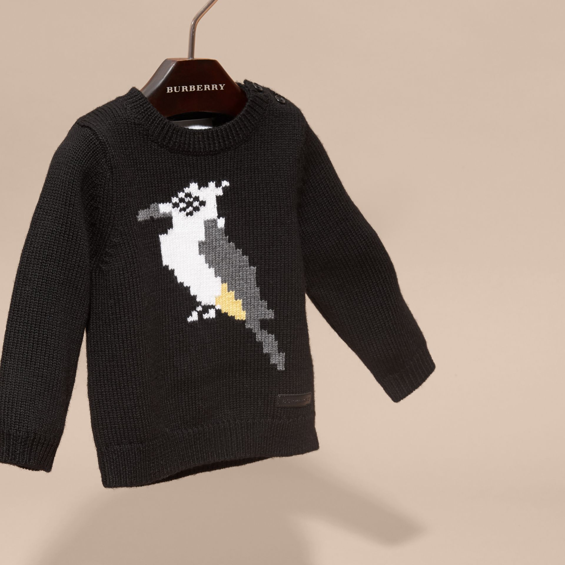Black Woodpecker Intarsia Merino Wool Sweater - gallery image 3