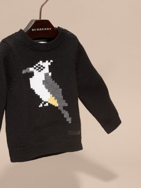 Black Woodpecker Intarsia Merino Wool Sweater - cell image 2