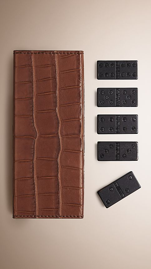 Clay Tarnished Alligator Leather Domino Set - Image 1