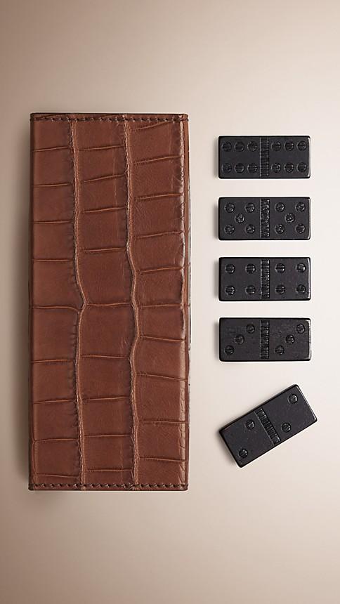 Argile Jeu de dominos avec étui en cuir d'alligator noirci - Image 1