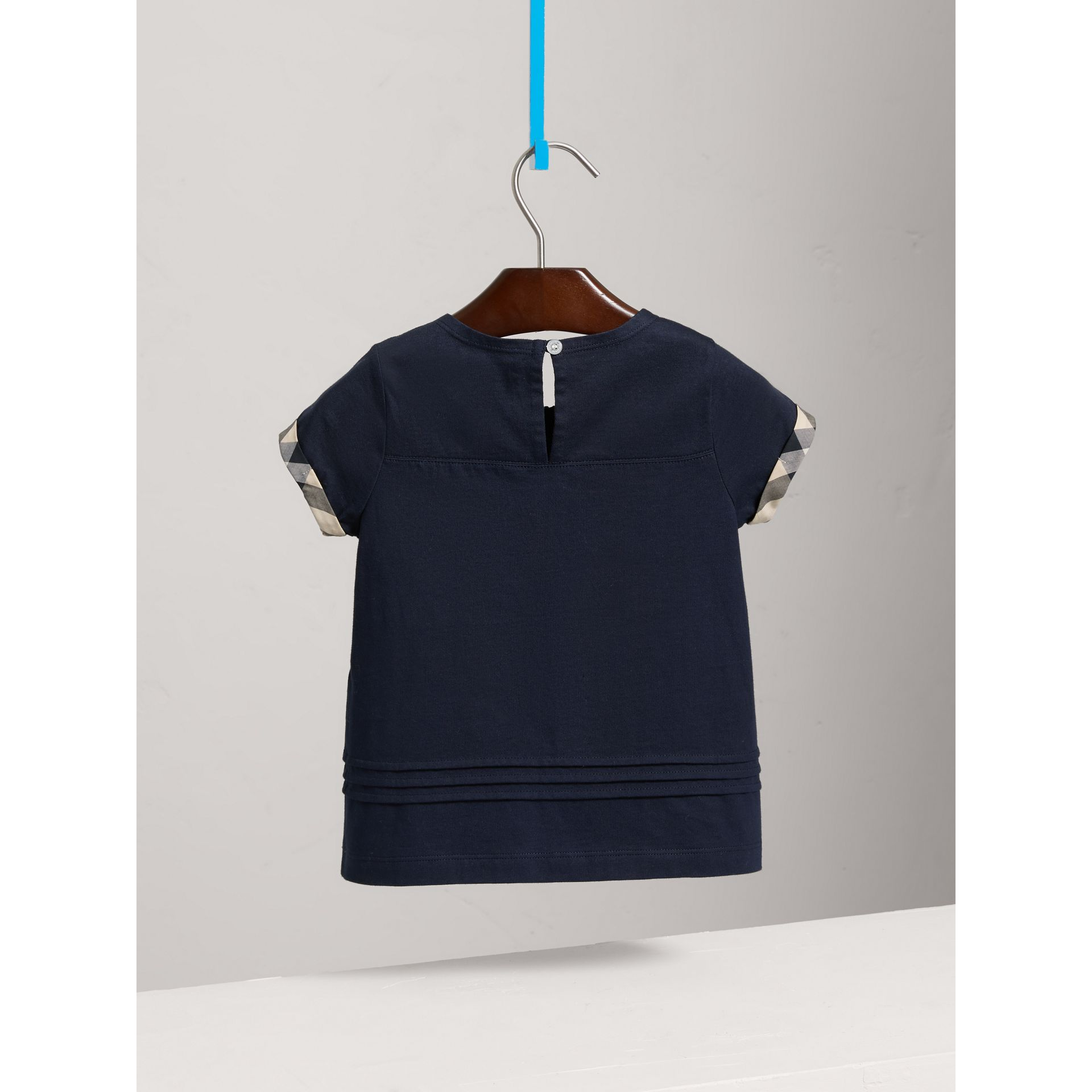 Pleat and Check Detail Cotton T-shirt in Navy - Girl | Burberry - gallery image 3