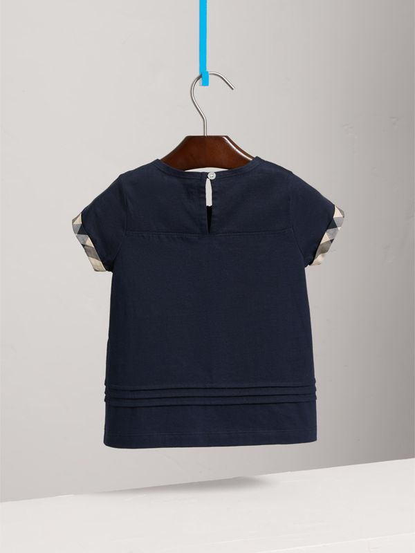 Pleat and Check Detail Cotton T-shirt in Navy - Girl | Burberry - cell image 3