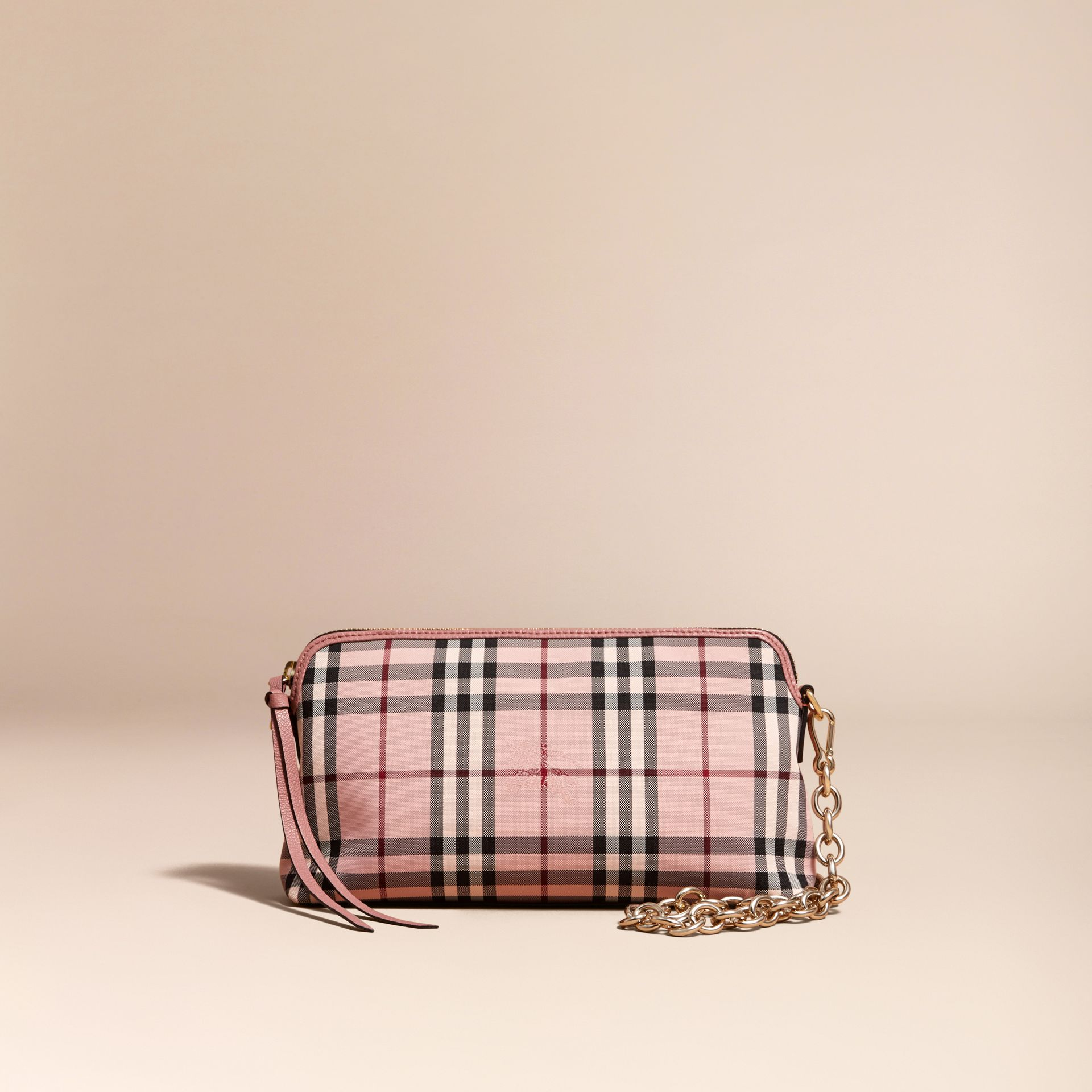 Ash rose/ dusty pink Overdyed Horseferry Check and Leather Clutch Bag - gallery image 9