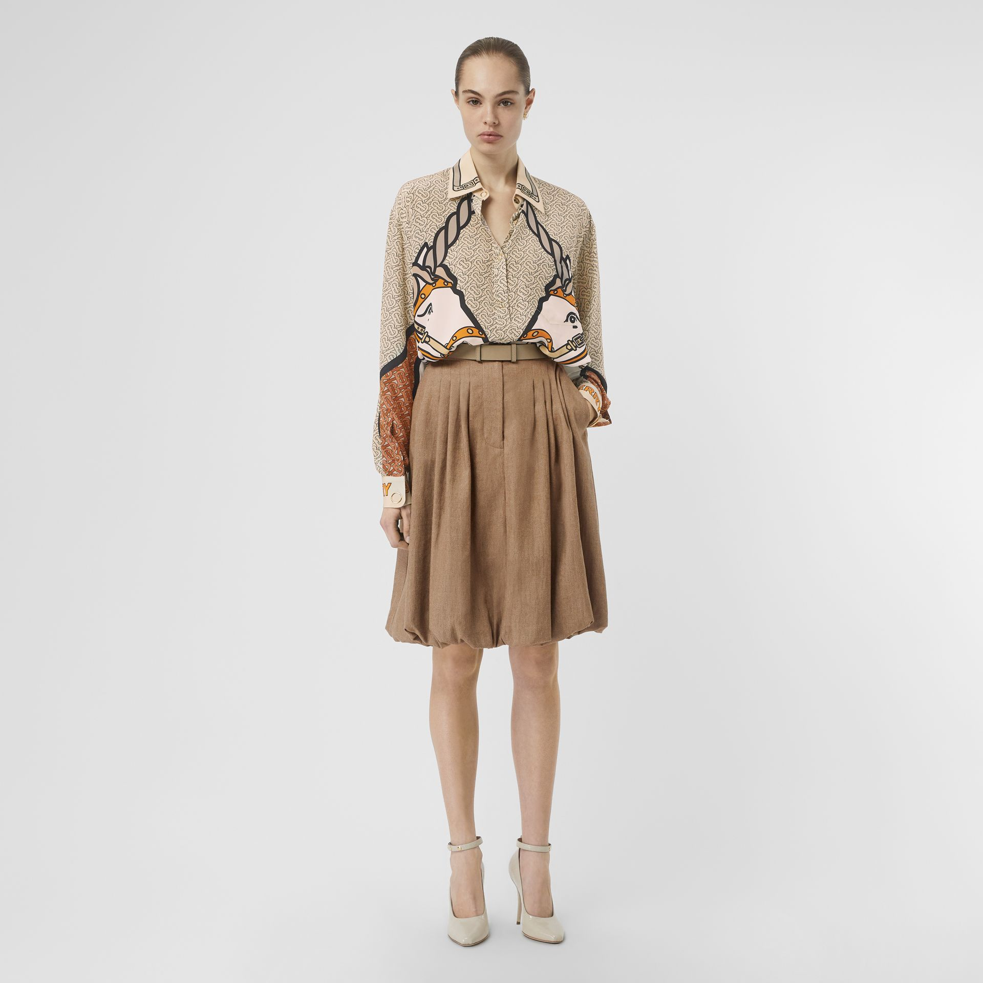 Unicorn and Monogram Print Silk Shirt in Light Camel - Women | Burberry - gallery image 4