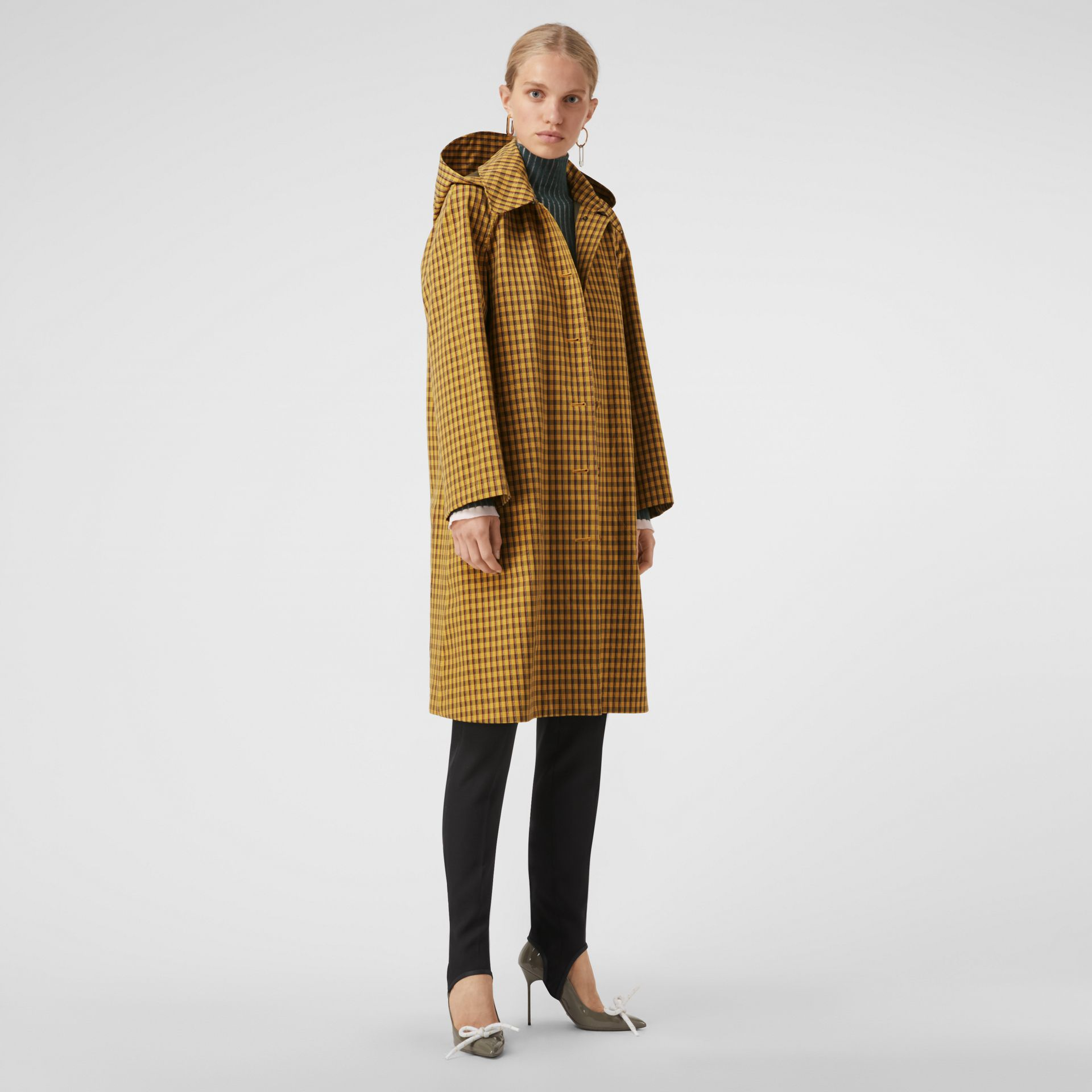 Detachable Hood Check Cotton Car Coat in Ochre Yellow - Women | Burberry - gallery image 0