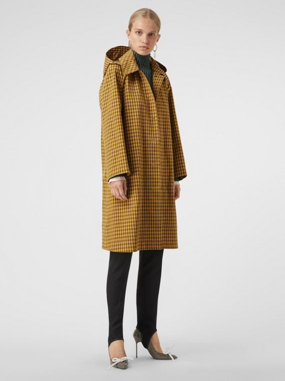 Detachable Hood Check Oversized Car Coat in Ochre Yellow