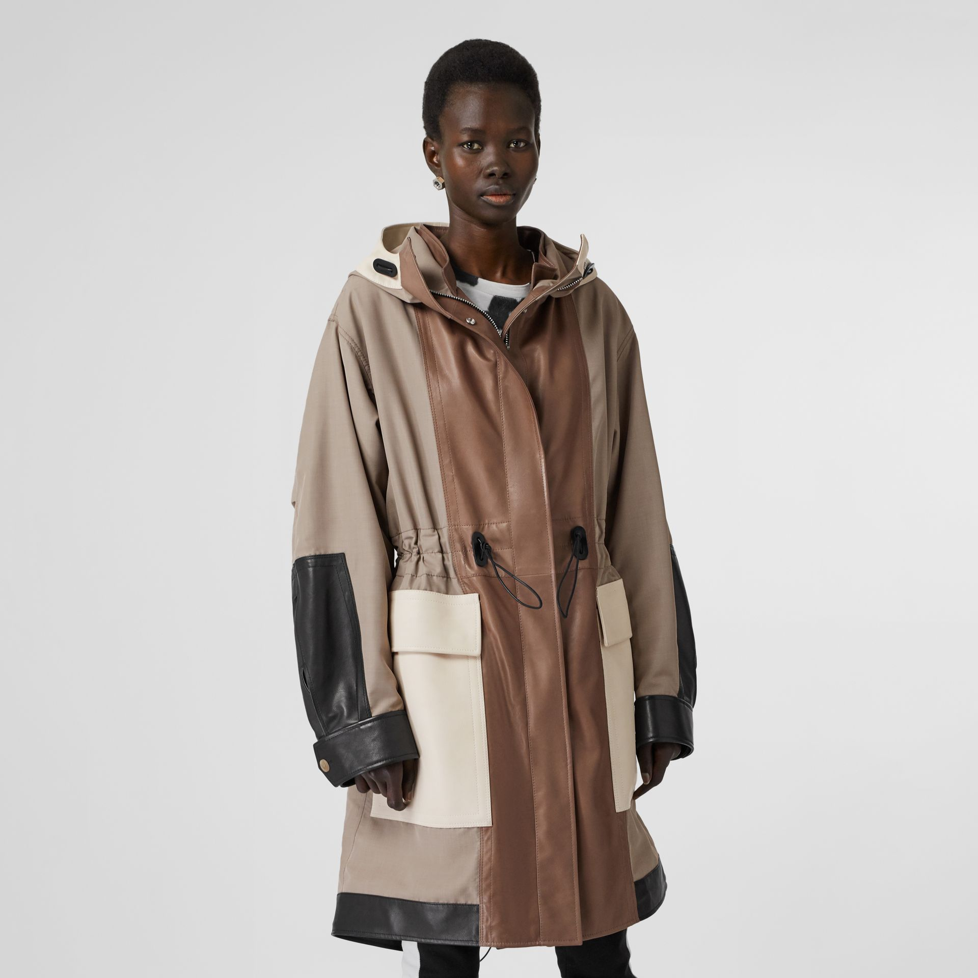 Leather Panelled Nylon Hooded Parka in Warm Taupe - Women | Burberry - gallery image 6
