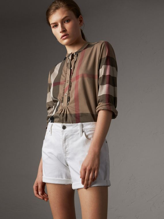 Check Grandad Collar Shirt in Taupe Brown