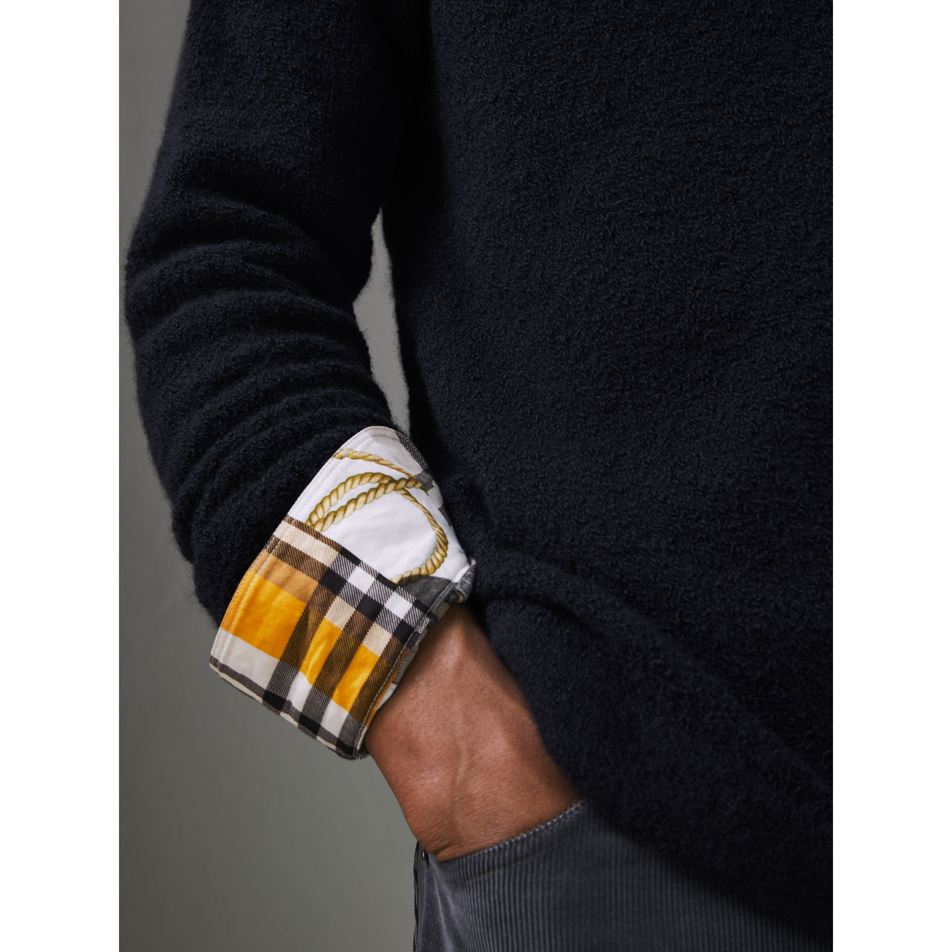 Zip-neck Cashmere Blend Fleece Sweater in Navy - Men | Burberry - gallery image 4