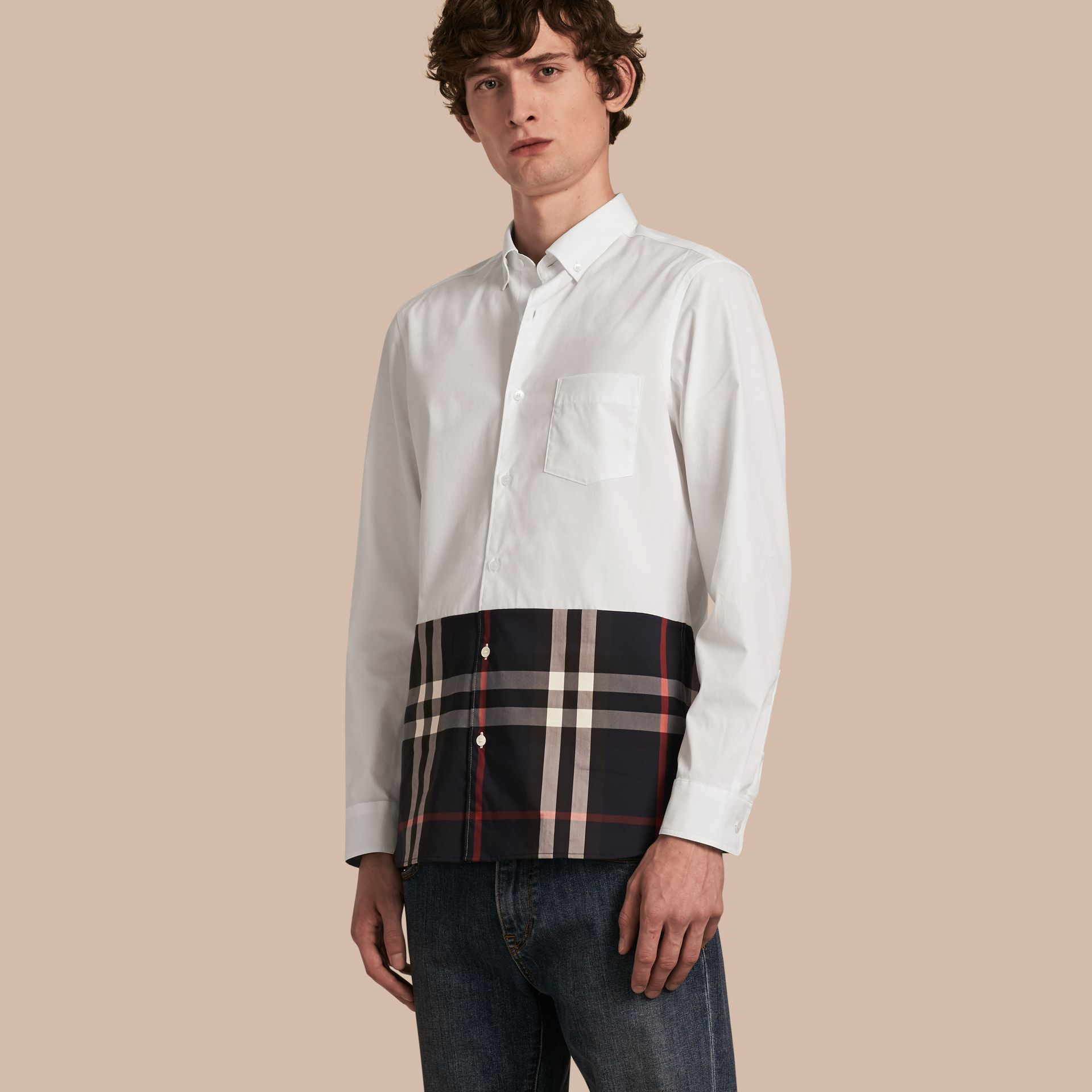 White Check Panel Stretch-Cotton Poplin Shirt White - gallery image 1