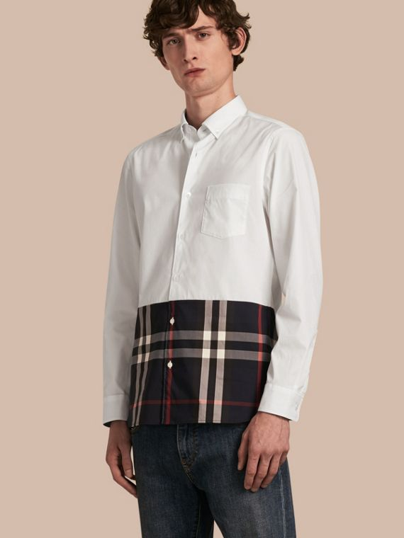 Check Panel Stretch-Cotton Poplin Shirt White